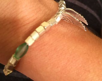 Silver, white, and green Angel wing bracelet