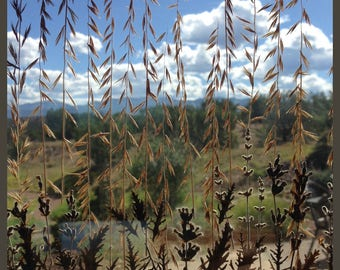 Meadow grasses, leaves, and flower petals, nature lover, window art, like stained glass, suncatcher, glass art