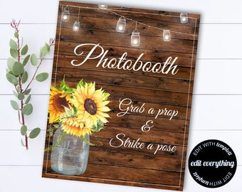 Wedding Photobooth Sign - Wedding Photo Booth Sign - Grab a Prop Wedding Photobooth Sign - Strike a Pose Wedding Photo Booth Sign
