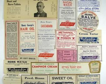 19 Drug Store Labels, Poison, QUACK Medicine, METHANOL, Paper Ephemera, Old Labels, pharmacy drugstore bottle, Rose Water, Cascara, Camphor