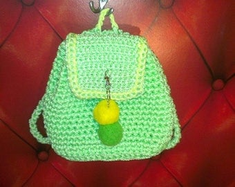 lime green knitted backpack, crochet bag, rope bag, market bag, crhochet bag,backpack,cord backpack, Handmade bag, Wedding gift idea