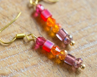 Fuchsia to Lavender Ombre Earrings