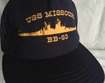 Vintage USS Missouri cap hat-BB-63