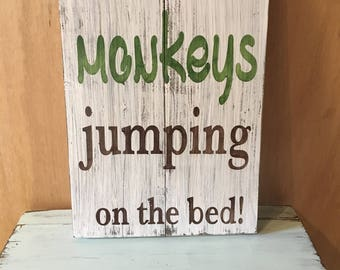 Jumping on the bed etsy for Kids room signs