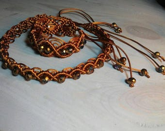 Macrame choker and bracelet