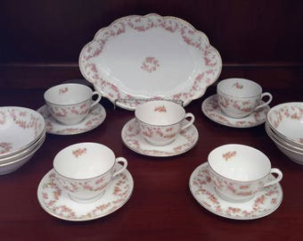 """Bridal Rosey 6"""" Bowls, Cups and Saucers Made in Germany/Czechoslovakia"""