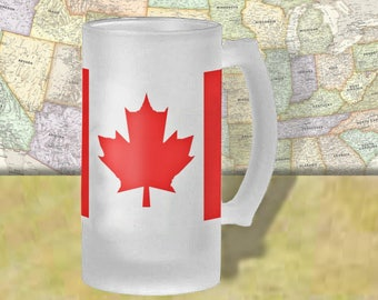 Canada Flag Beer Mug, Beer Stein, Country Flag, Country Pride, Beer Glass, 16 oz., Frosted Mug, Beer Thinkers, Beer Lovers, Cold Beer