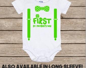First St Patrick's day bodysuit, boy's st patricks day shirt, st pattys day shirt for baby boy, shamrock shirt, for newborn, 3 6 9 months
