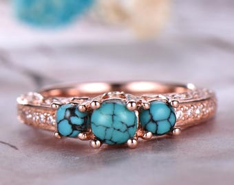round cut turquoise engagement ring3 stones ring14k rose gold