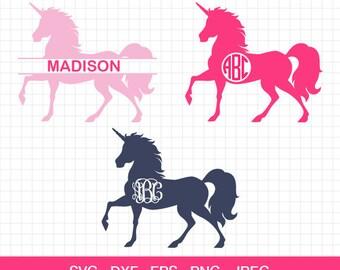 Unicorn Svg, Unicorn vector, unicorn horn svg, Unicorn silhouette, unicorn monogram frames, cricut cut files, silhouette cut files,