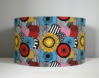 Geometric flower lampshade 35cm handmade by vivid shades modern retro scandi style funky floral pattern red blue yellow pink black and white