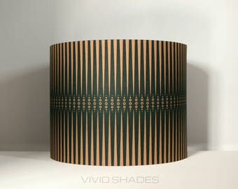 Geometric fabric lampshade handmade by vivid shades, modern retro stylish tribal pattern custom made funky unique copper and black drum