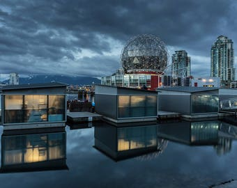 Reflection, Science World, Olympic Village Vancouver at Sunset, BC Place, Fasle Creek, water, cloud