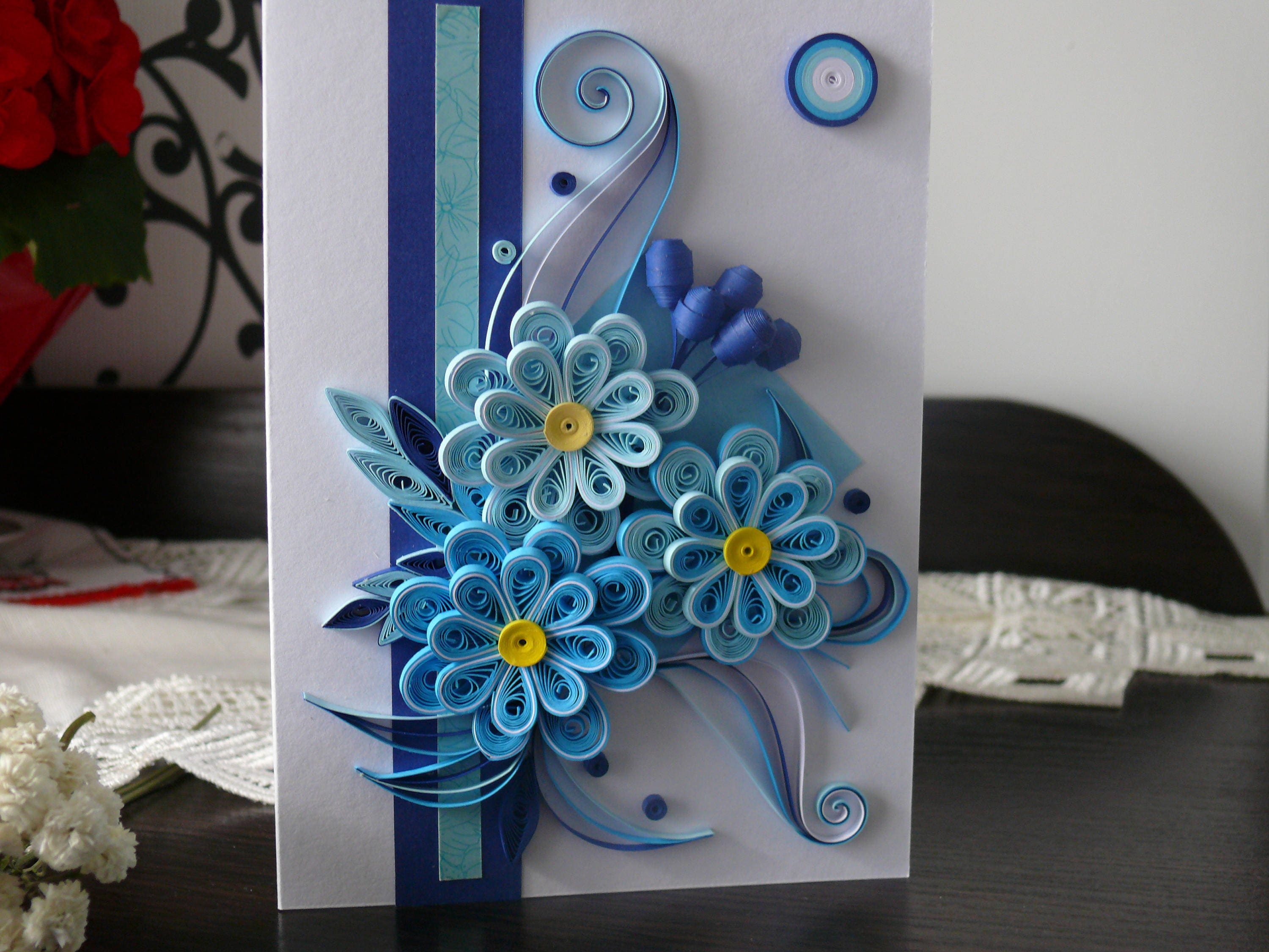 Birthday quilling card nice blue flower quilling card greeting birthday quilling card nice blue flower quilling card greeting card wedding card kristyandbryce Images