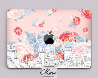 Roses MacBook pro 15 inch cover Mac Book air laptop 13 sleeve Building painting Mac a1502 case Touch Bar clear MacBook case plastic 11 12 in