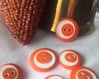 1 lot of 22 vintage orange buttons