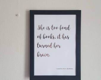 Rose gold book quote, literary quote, Louisa May Alcott Little Women. Perfect bookworm gift!