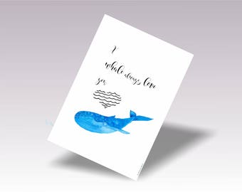 Nursery Whale Print, Blue Whale Wall Art Print, Baby Whale Art Print, Whale Digital Art Printable, Kids Whale Art Watercolor
