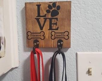 Leash hanger, dog leash holder, pet leash hanger, personalized pet name, dog name, pet decor, leash hooks, custom pet decor, home decor