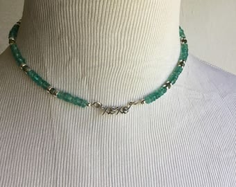 Gorgeous Heishi Cut Green Apatite and Sterling XOXO Necklace