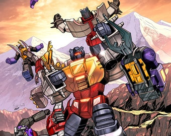 Transformers, Dinobots VS Insecticons and Shockwave Print