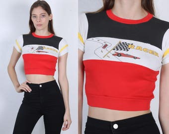 80s Crop Top // Vintage Car Racing T Shirt Striped - Extra Small xs