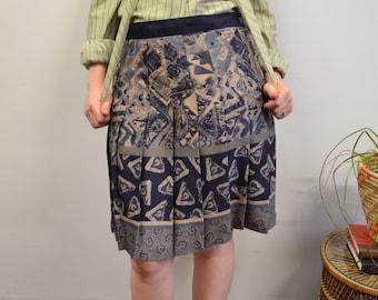80s Geometric Pleated Skirt, High Waisted Toni Garment, Sz L