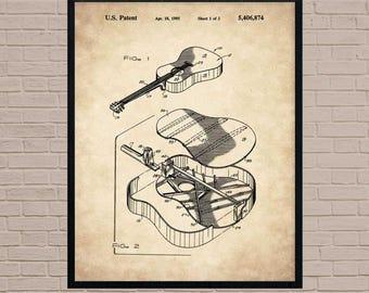 Acoustic Guitar, Guitar Art, Guitar Player Gift, Music Poster, Guitar Decor, Vintage Guitar, Guitar Wall Art, Guitar Patent, Fender Guitar