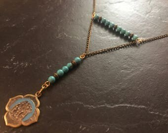 Necklace medal vintage and Turquoise