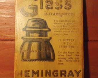 Hemingray - 42 Wooden Advertising plaque Circa 1931