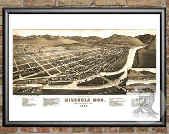 Missoula, Montana Art Print From 1884 - Digitally Restored Old Missoula, MT Map Poster - Perfect For Fans Of Montana History