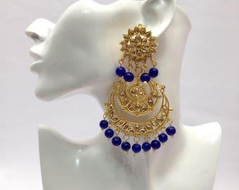 Handmade Indian Kundan Large Earrings with Pearl Imitation Bollywood jewelry Indian Wedding jewelry