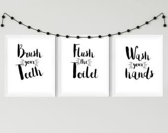 Wash your hands Wall Art, Bathroom Prints, Wash your hands, brush your teeth, Flush the toilet. Printable Art, Wall Art, Bathroom Art,
