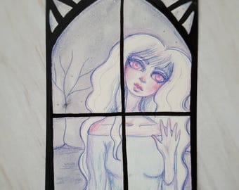 Original Ghost Girl in the Window Drawing
