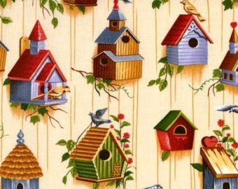 Cotton Fabric Quilting Bird Houses Patchwork
