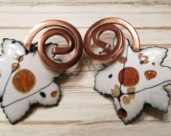 Matisse White Leaf Clip-On Earrings
