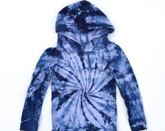 Baby & Children's Tie Dye Indigo Spiral Hoodie - Size 00 to 14 -  Pullover Long Sleeve Sweatshirt - Unisex - FREE SHIPPING within AUS