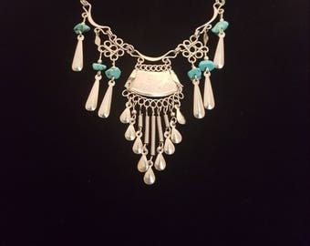70s turquoise stone and silver vintage necklace