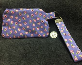 Coin Purse with Removable Strap - Light Purple with Pink Flowers