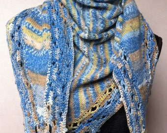 KNIT SHAWL HANDMADE STOCKING STITCH