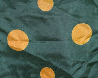 Vintage Monaco Rusher Schals women scarf 100% SILK green brown dots
