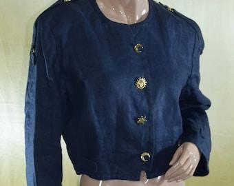 Vintage women blazer 100% linen metal golden buttons Made in Italy navy blue size USA 6