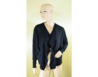 Vintage COS women cardigan vest top 100% merino wool navy blue
