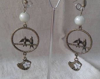 "Earrings ""couple of birds and White Pearl"""