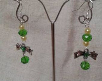 bow and green pearl earrings