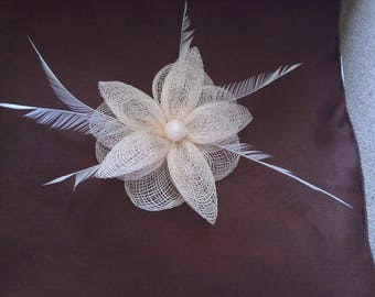 large ivory flower and feather hair clip