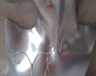 """Orange beads swing"" earrings"