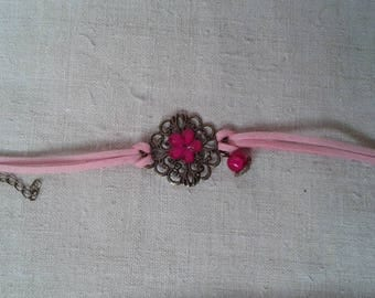 Bracelet print and pink flower rhinestone