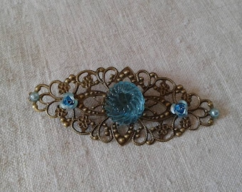 print and blue candy cabochon brooch