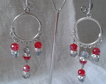 """Earrings """"red and transparent"""""""